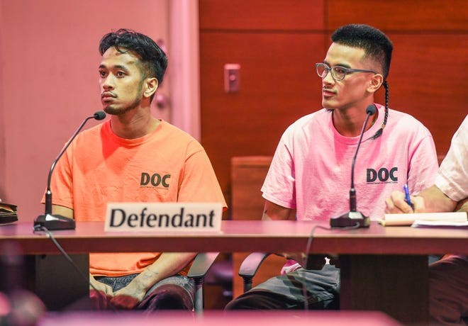 Brothers Jordan Rachulap, left, and Emmanuel Reselap, right, were sentenced on Wednesday for striking passing cars last year with a machete in Mangilao.