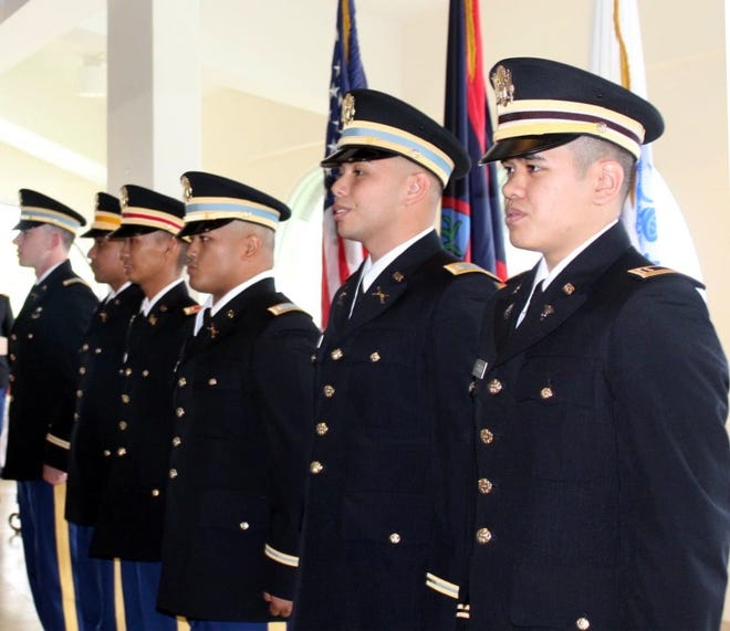 University of Guam ROTC cadets, from right, Christopher Andrada, Corey Ayuyu, Collin Babauta, Justine Mallari, Henry Sandbergen and Michael Schommer were commissioned as Army officers on Dec. 21.