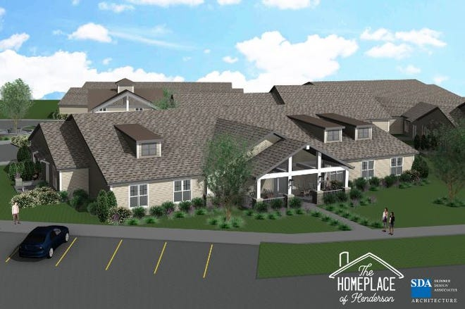 The architect's drawing of the exterior of one of the assisted living wings planned at The Homeplace of Henderson. Each wing would have its own entrance, porch and parking area designed to look like a suburban home.