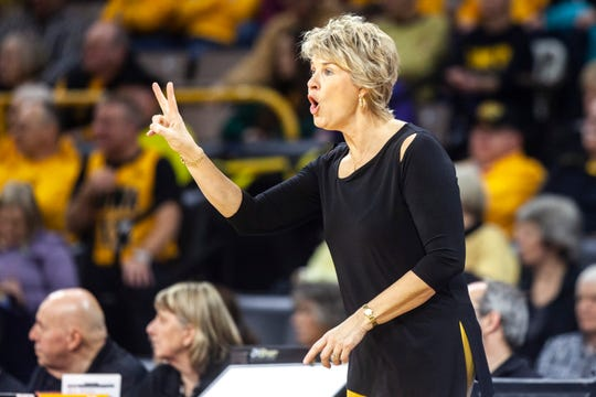 Iowa head coach Lisa Bluder gestures to players during a NCAA college Big Ten Conference women's basketball game, Thursday, Jan. 9, 2020, at Carver-Hawkeye Arena in Iowa City, Iowa.