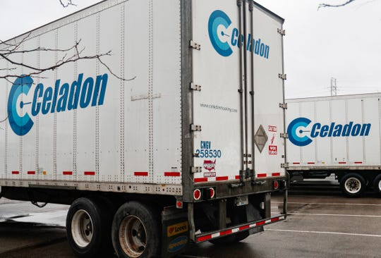 Celadon trucking trailers sit in a lot off of East 30th St., Indianapolis, Friday, Jan. 10, 2020.