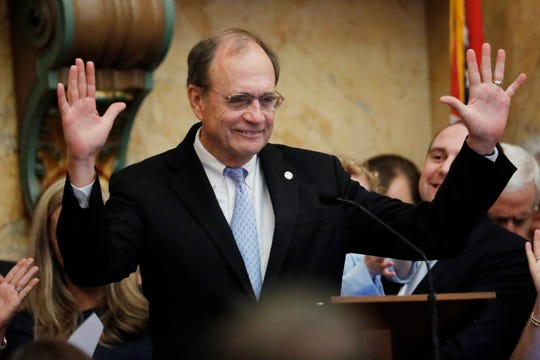 Lt. Gov. Delbert Hosemann, reacts to the lawmakers applause after addressing the joint session of the Legislature in House chambers at the Mississippi Capitol in Jackson, Miss., following the swearing in of all the statewide elected officials except the governor, Thursday, Jan. 9, 2020. Gov.-elect Tate Reeves will be inaugurated Tuesday, Jan. 14.