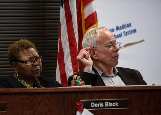 Jackson-Madison County school board members Doris Black and Jim Campbell.