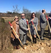 Kim Frazier with Kevin Crateau and Jennifer Rice, members of Hardin Valley Supports a Middle School community group, at the Hardin Valley Middle School ground breaking Feb. 19, 2016.