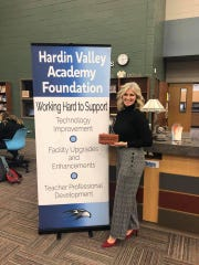Kim Frazier kicks off the brick fundraiser campaign for Hardin Valley Academy Foundation at a phonathon held at the school Thursday, Dec. 12.