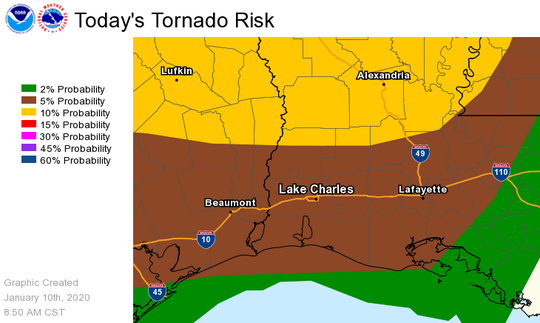 Severe weather is expected to impact Lafayette Friday, Jan. 10, 2020. This map from the National Weather Service in Lake Charles shows the risk of tornadoes. The map is valid through 6 a.m. Saturday.