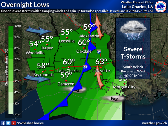 Severe weather is expected to pass through Acadiana Friday, Jan, 10, 2020. This map shows overnight weather predictions from the National Weather Service in Lake Charles. This map was issued at about 4:30 p.m.