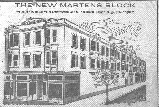 This sketch of the proposed Martens Block appeared in the Daily Eagle April 27, 1901. It was constructed on the NW corner of the public square by brothers Albert H. and McClellan Martens.