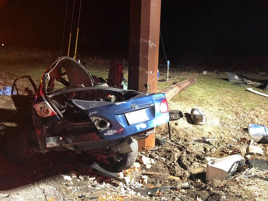 Two teenage passengers in a Toyota that was fleeing from police Thursday, Jan. 9, 2019, in Madison, Indiana, were killed when the car crashed at State Road 256 and Thompson Road, according to Indiana State Police.