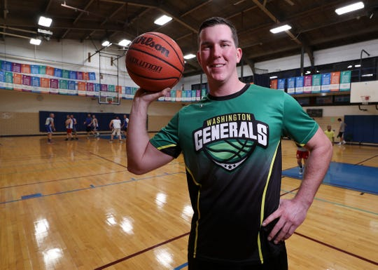 Former Kentucky State University basketball player Joe Claybrook is now a forward for the Washington Generals.  He keeps in shape by practicing at the YMCA in Lexington, Ky. on Jan. 8, 2020.