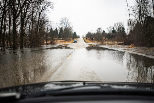 Flooding seen near the intersection of Columbia Highway. and N.Canal Road in Eaton Rapids, Michigan, Friday, Jan. 10, 2020.