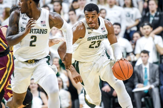Michigan State's Xavier Tillman moves with the ball during the first half on Thursday, Jan. 9, 2020, at the Breslin Center in East Lansing.
