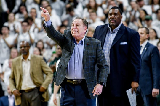 Michigan State's head coach Tom Izzo reacts during the first half on Thursday, Jan. 9, 2020, at the Breslin Center in East Lansing.