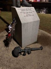 A monument dedicated to an Eaton Rapids man and U.S. Marine killed while serving in Irag was vandalized. The damage was reported to police on Thursday, Jan. 9, 2020.