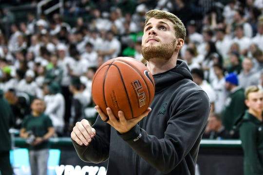 Michigan State's Kyle Ahrens not dressed or playing due to an injury in the Spartans game against Minnesota on Thursday, Jan. 9, 2020, at the Breslin Center in East Lansing.