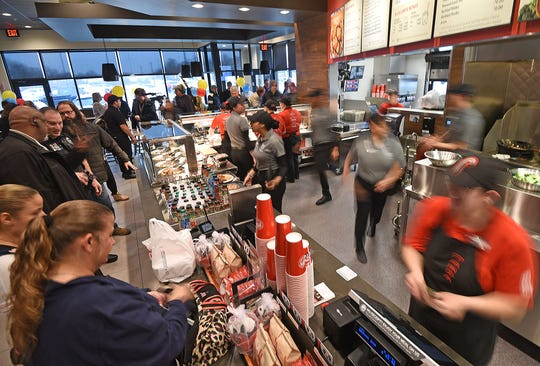 Panda Express was busy Friday afternoon after its ceremonial ribbon-cutting.