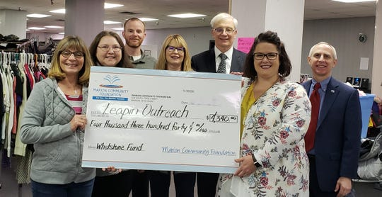Marion Community Foundation awards approximately $1.7 million annually in grants and scholarships to address community needs. Grants, such as this one from the Whetstone Financial Fund, help local nonprofits like the Leapin' Outreach Center serve those in need.