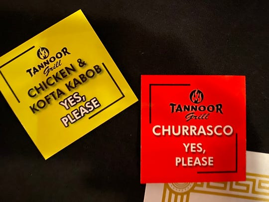 At Tannoor Grill, the staff will continue to serve you and until you say you are done. Little cards on the table let the staff know you are still hungry, or taking a break.
