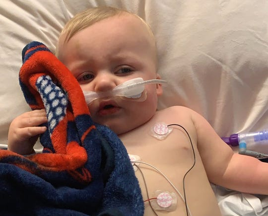 Ten-month-old Colton Komassa of Menomonee Falls was at Children's Hospital from Dec. 17 to Dec. 23 with respiratory syncytial virus, which causes labored breathing and fever.