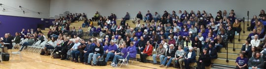 Community members filled the bleachers at the Palmyra-Eagle Middle School gymnasium Thursday, Jan. 9, 2020, to hear the decision of the School District Boundary Appeal Board on whether to dissolve the Palmyra-Eagle Area School District. Loud cheers and applause filled the gym when the SDBAB announced its decision to deny dissolution and keep the district open.