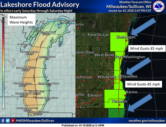 A lakeshore flood advisory has been issued, with 10-13 foot waves expected on Lake Michigan.