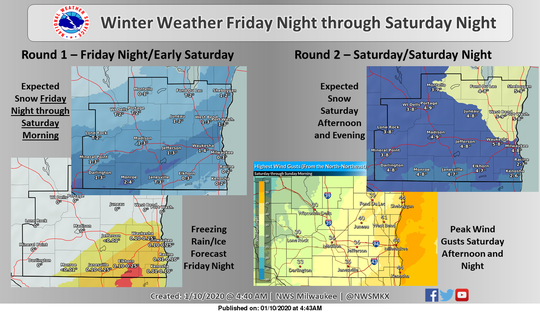 Forecasters expect a weekend storm to play out in two rounds.