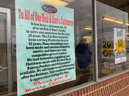 A sign at the entryway of the Fox Run Sentry in Waukesha thanks customers for their long-time patronage. The store will close no later than Jan. 31.