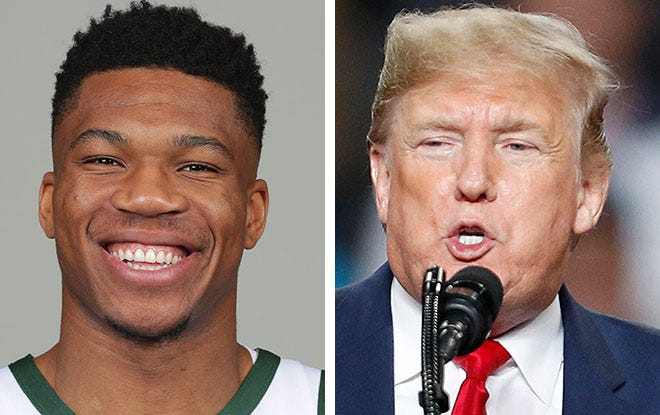 NBA superstar Giannis Antetokounmpo of the Milwaukee Bucks, left, and President Donald Trump will be two blocks apart Tuesday, Jan. 14, 2020, when Trump stages a campaign rally at the same time the Bucks play a home game against the New York Knicks.