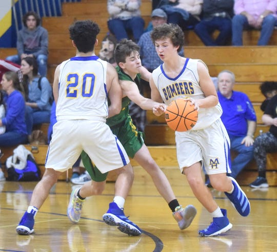 Mountain Home's Masen Walker dribbles around the screen of teammate Colby Lockhart on Thursday night.