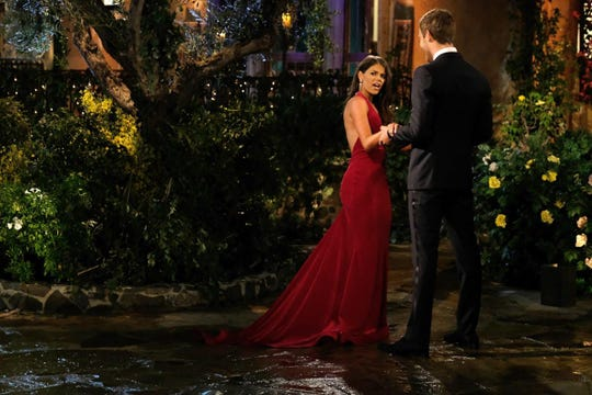 Madison Prewett, left, and Peter Weber, right, on The Bachelor.