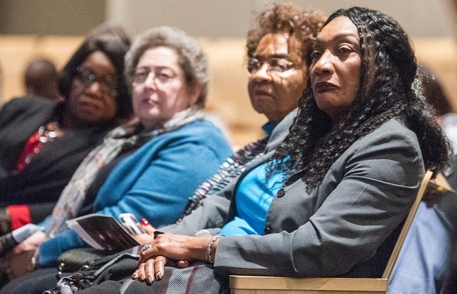 Montgomery School Superintendent Ann Roy Moore, right, and school board members, from left, Claudia Thomas-Mitchell, Clare Weil and Mary Briers look on during a public meeting to discuss the Life Academy charter school in Montgomery, Ala., on Thursday January 9, 2020.