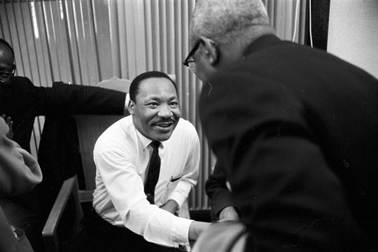 Martin Luther King Jr. at Maggie Street Baptist Church in February 1968.