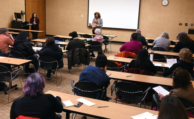 Amy Flowers, president of Analytic Insight, leads a community meeting with the Licking County Task Force on Homelessness to provide project feedback and help developing strategies for further action Thursday on the campus of Ohio State University and Central Ohio Technical College.