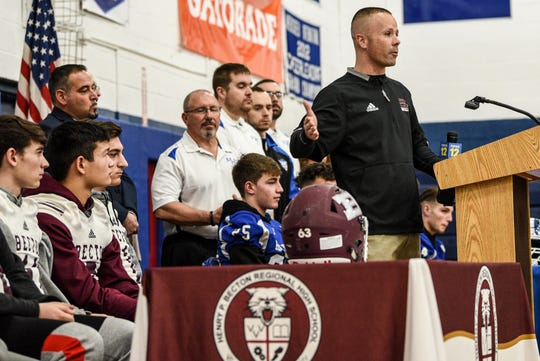 Wood-Ridge High School holds a press conference announcing they will play Becton football at Tom Benson Hall of Fame Stadium in Canton, Ohio in September. Becton football head coach John Maher speaks during the press conference at Wood-Ridge High School in Wood-Ridge on Friday January 10, 2020.