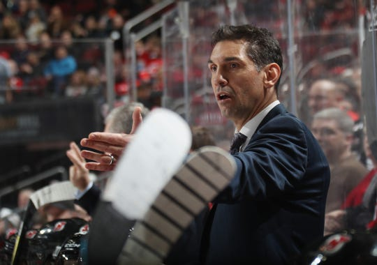 Alain Nasreddine, interim head coach of the New Jersey Devils, works the game against the Colorado Avalanche at Prudential Center on Jan. 4, 2020 in Newark, New Jersey.