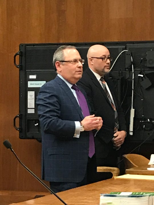 Rafael Ramos (right) standing with his attorney Lawrence Kleiner in Superior Court.