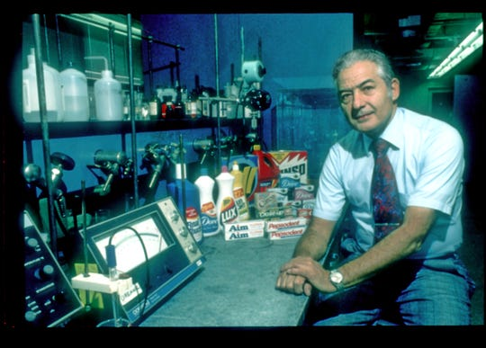 Vincent Lamberti of Upper Saddle River was the head of the research division at the Lever Brothers Edgewater facility. He is seen in the lab with several products he helped create in this Sept. 22, 1982 photo.
