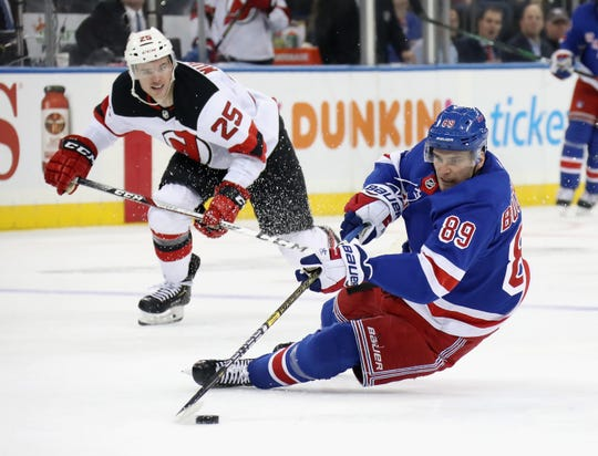 Pavel Buchnevich #89 of the New York Rangers looses his edge against during the second period the New Jersey Devils at Madison Square Garden on Jan. 9, 2020 in New York City.