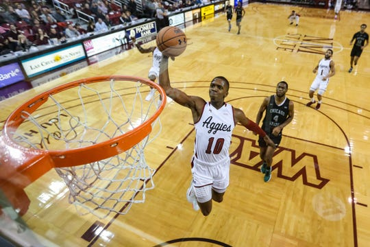 The NMSU Aggies face off against the Chicago State Courgars at the Pan American Center in Las Cruces on Thursday, Jan. 9, 2020.