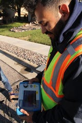 It could be a leak. LCU Leak Detection Technician Luis Gonzalez sees the vibrations that he hears through the headphones attached to his handheld device.