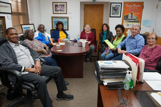 Pictured from left to right is the MLK Scholarship Committee: the Rev. R. L. Smith, Jr., Bernita Payne, James Williams, Julia Williams, Liz Burke, Truth LaClair, Patricia Green, Carlsbad Mayor Dale Janway and LaWanda Scholl.  Not pictured is Gary Giddens, MLK President.
