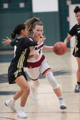 La Quinta's Georgina Ansley drives the ball to the hoop in a game versus Xavier Prep on Thursday, Jan. 9, 2020 in La Quinta, Calif.