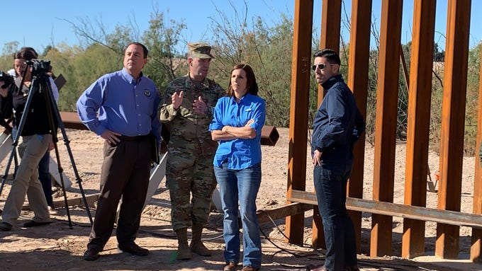 An officer with the U.S. Army Corps of Engineers explains construction activities along the Colorado River to Acting Department of Homeland Security Secretary Chad Wolf (right), U.S. Sen. Martha McSally of Arizona and Yuma Mayor Doug Nicholls, on Jan. 10, 2020.