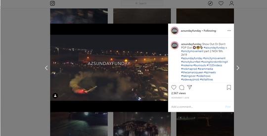 Instagram account @azsundayfunday has been publicizing street-racing events in Phoenix.