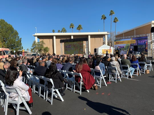 Crowds gathered Jan. 10 in downtown Mesa for groundbreaking on the ASU building at Mesa City Center.