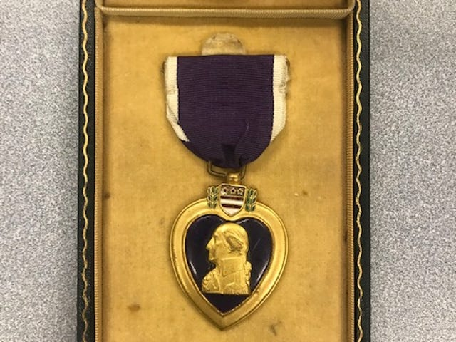 A person who would like to remain anonymous turned in a lost Purple Heart to the St. Clair County Department of Veterans Affairs. The department has contacted the recipient's family and are working to return the medal.