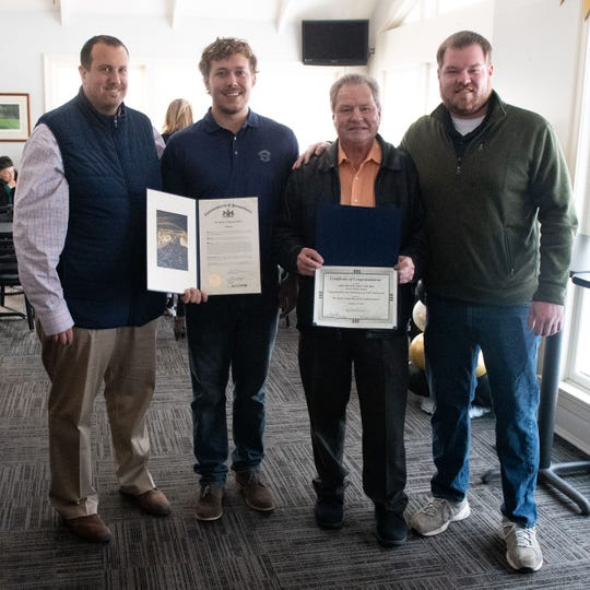 (Left to right) State Representative Seth Grove, owner and manager Jordan Chronister, owner Greg Bower and owner and golf course manager Marc Bower are all smiles during the Grandview Golf Course Centennial Celebration, January 9, 2020.