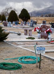 One of the water faucets at the Valley View Cemetery in Yerington.