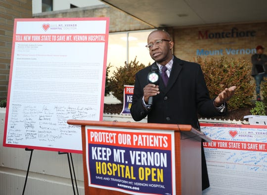 Lyndon Williams, Westchester County Legislator speaks a press conference to launch a massive community-driven, grassroots campaign to save Mount Vernon Hospital in Mount Vernon Jan. 10, 2020.