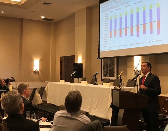 Economist Robert Eyler was the keynote speaker at the 20th annual North State Economic Forecast Conference at the Sheraton in Redding on Thursday, Jan. 9, 2020.